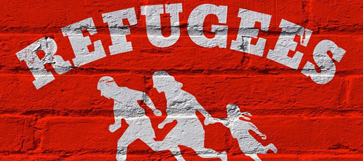 Schriftzug Refugees welcome