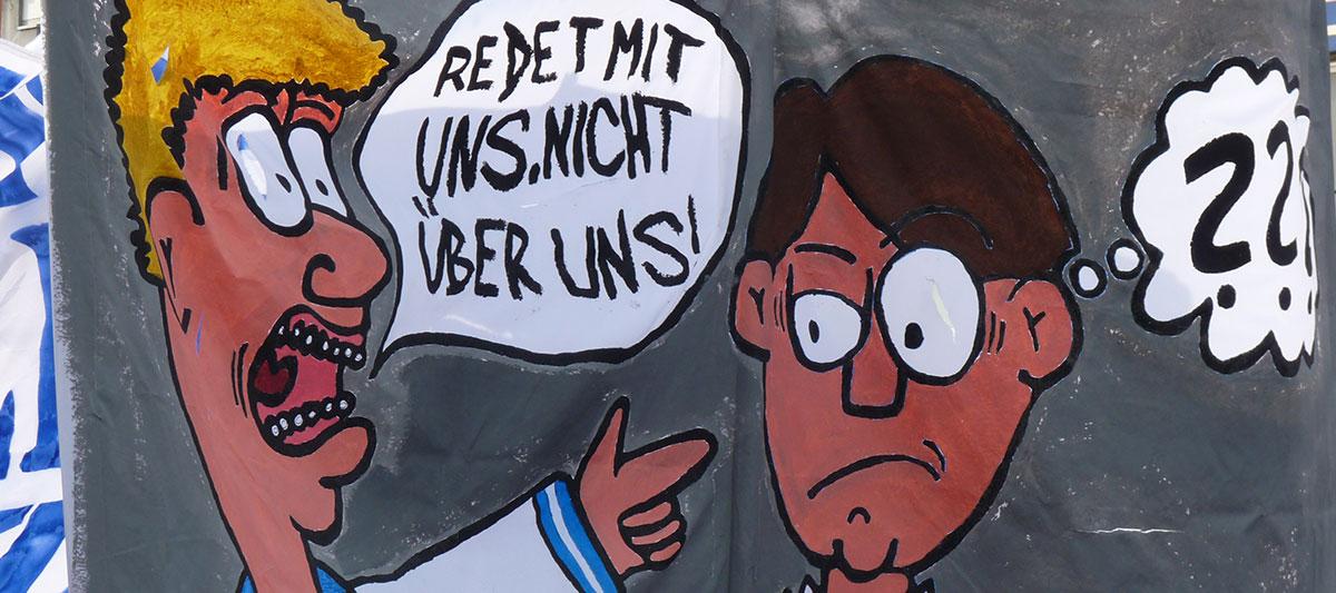 Zeichnung zum fehlenden Fandialog des DFB